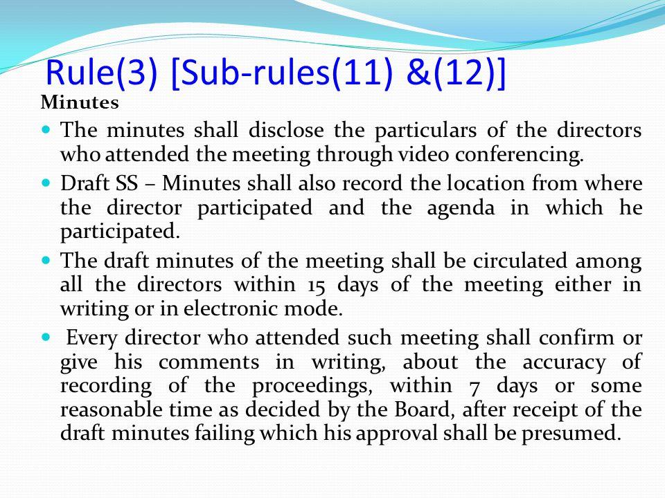 Rule(3) [Sub-rules(11) &(12)]